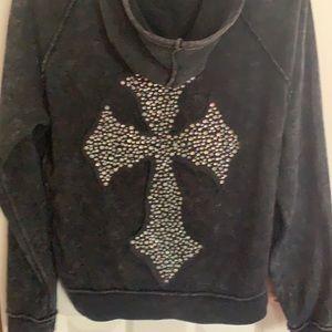 Sweatshirt velvet stone big bling cross size l